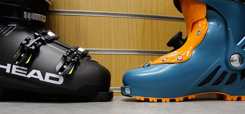 Semelle chaussure alpine (gauche) vs semelle vibram chaussure de rando (droite)