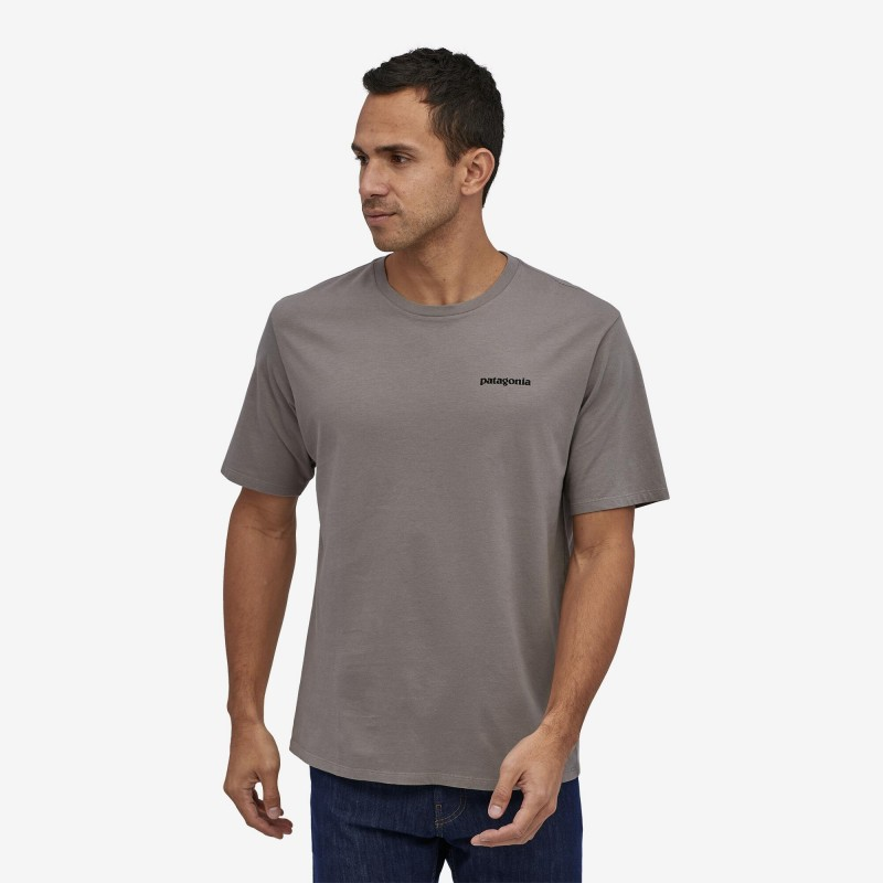 Patagonia P-6 logo organic t-shirt Feather Grey chez sportaixtrem.com